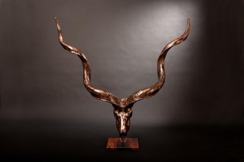 Complete Bronze Kudu skull